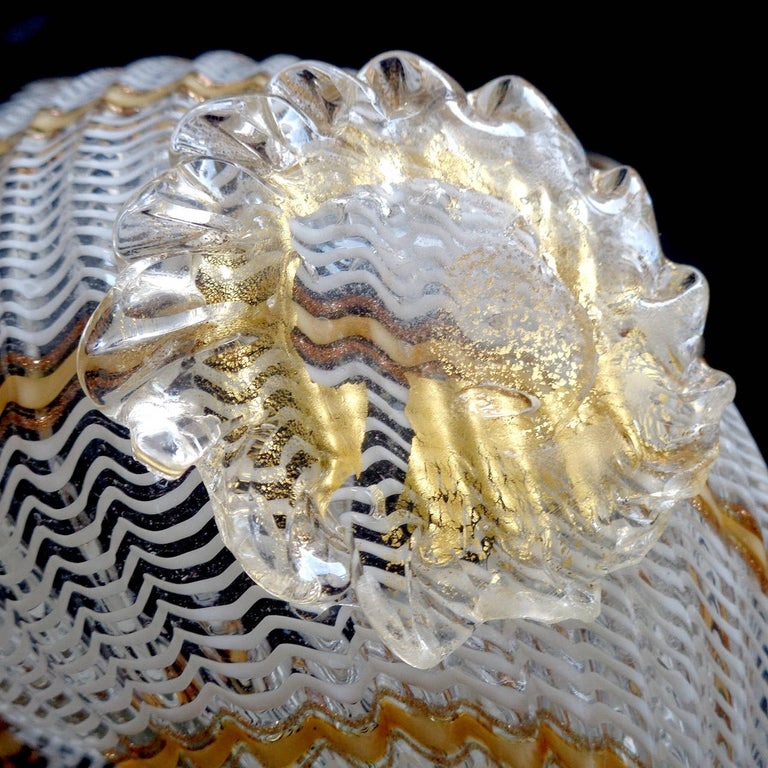 20th Century Dino Martens Aureliano Toso Murano Ribbons Italian Art Glass Seashell Bowl For Sale