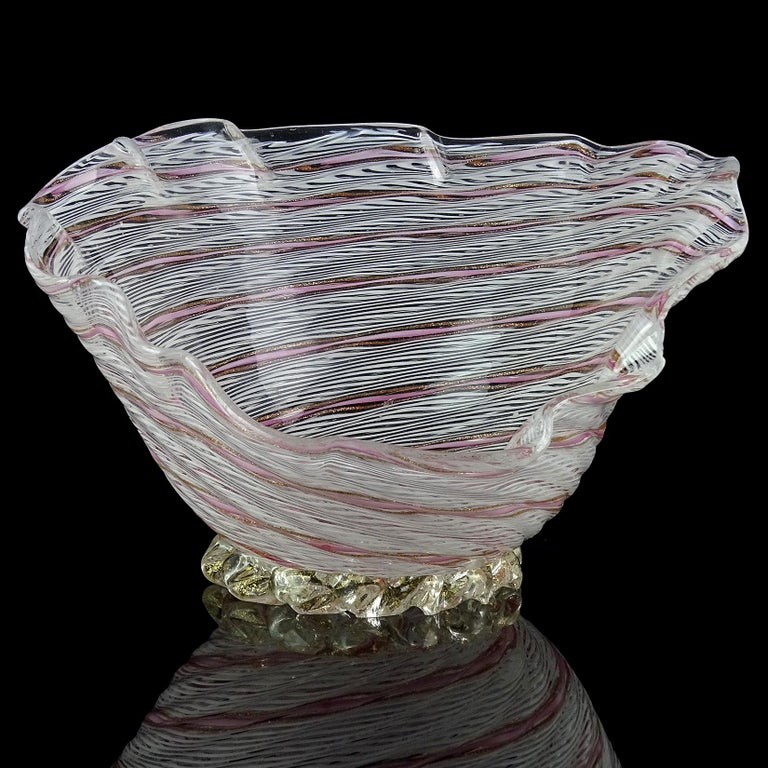 Mid-Century Modern Dino Martens Aureliano Toso Murano White Pink Ribbon Italian Art Glass Bowl Dish For Sale