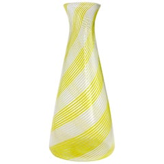 Dino Martens Aureliano Toso Murano Yellow White Italian Art Glass Flower Vase