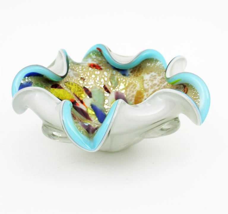 Italian Dino Martens AVEM Millefiori Tutti Frutti Silver Flecks Art Glass Bowl For Sale