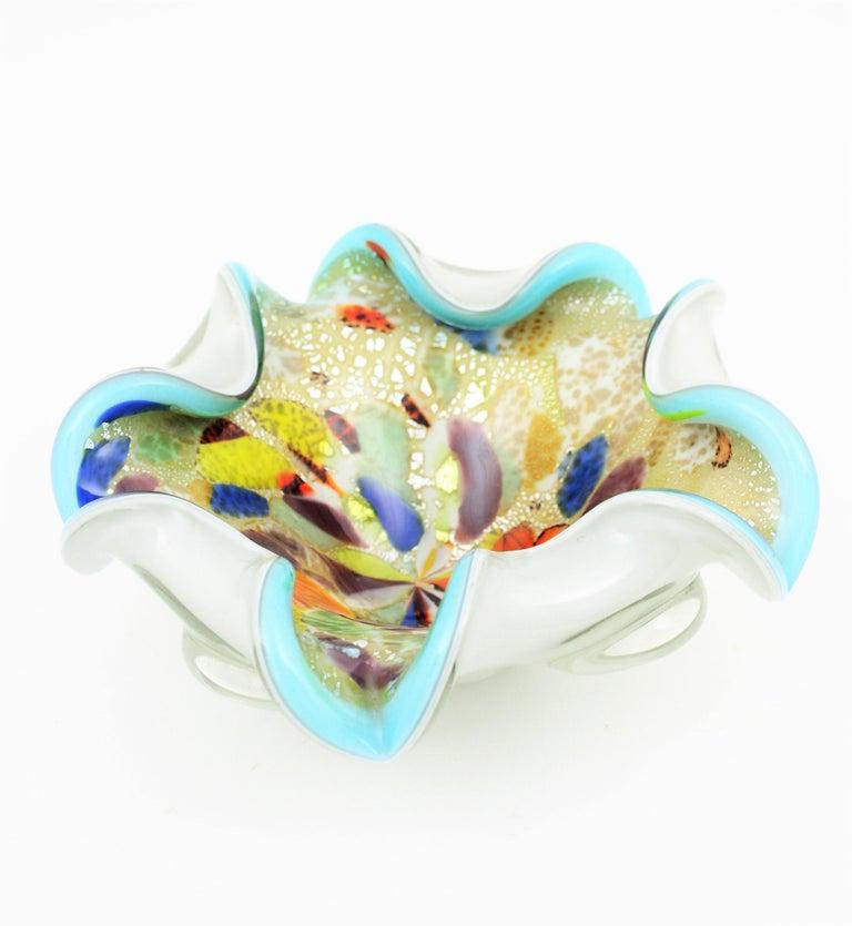 20th Century Dino Martens AVEM Millefiori Tutti Frutti Silver Flecks Art Glass Bowl For Sale