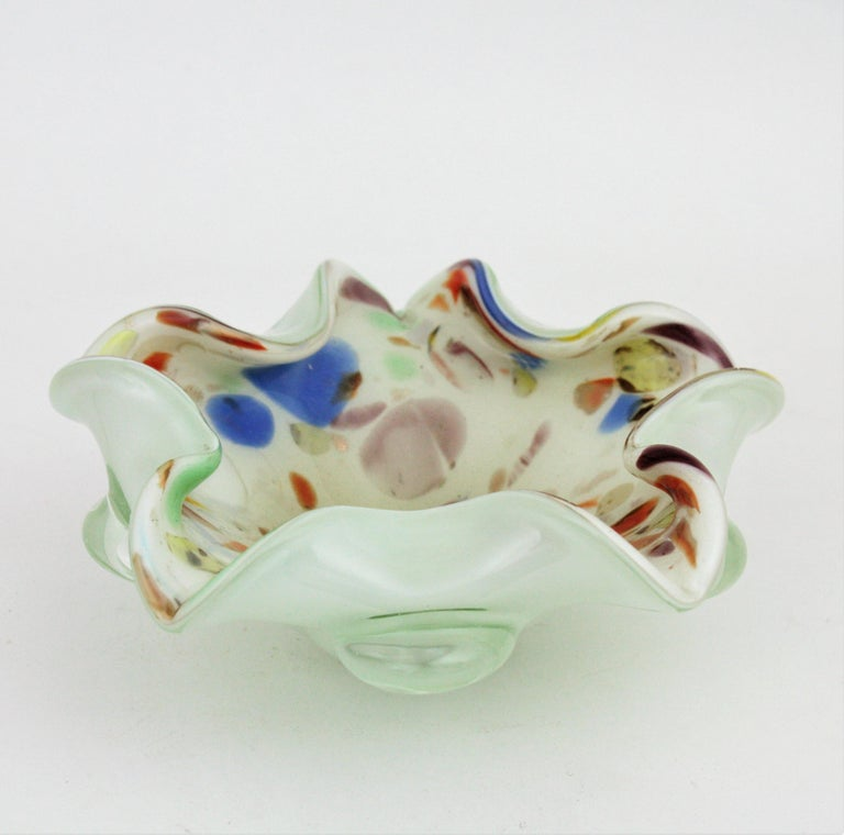 Dino Martens Murano Multicolor Millefiori Art Glass Bowl with Copper Flecks For Sale 7