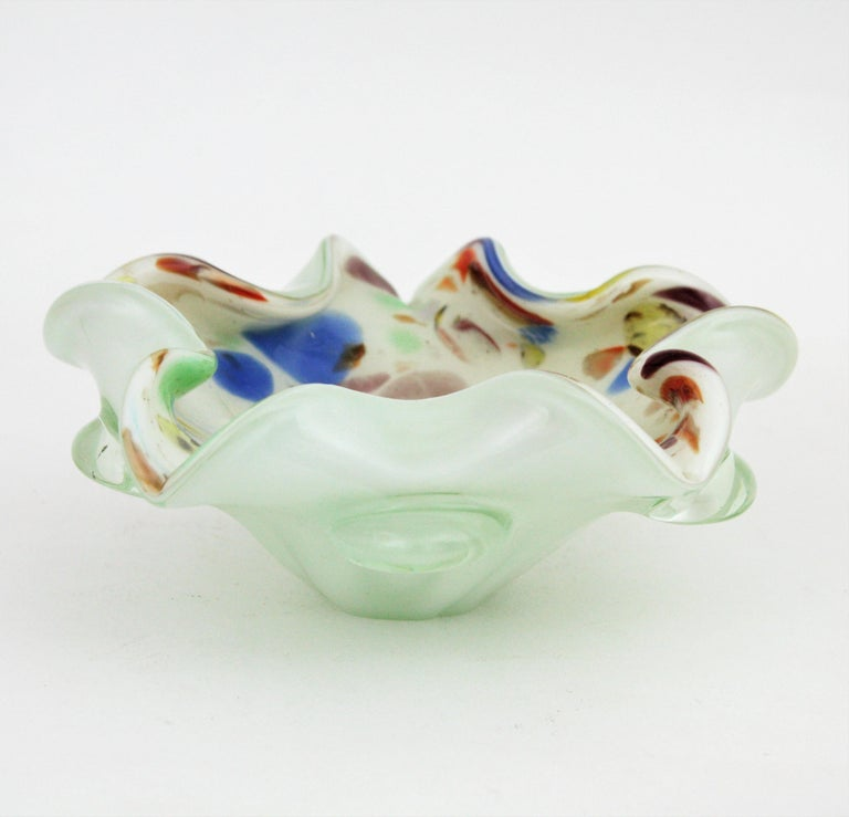 Dino Martens Murano Multicolor Millefiori Art Glass Bowl with Copper Flecks For Sale 2