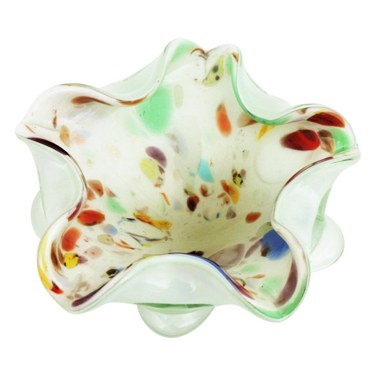 Dino Martens Murano Multicolor Millefiori Art Glass Bowl with Copper Flecks For Sale