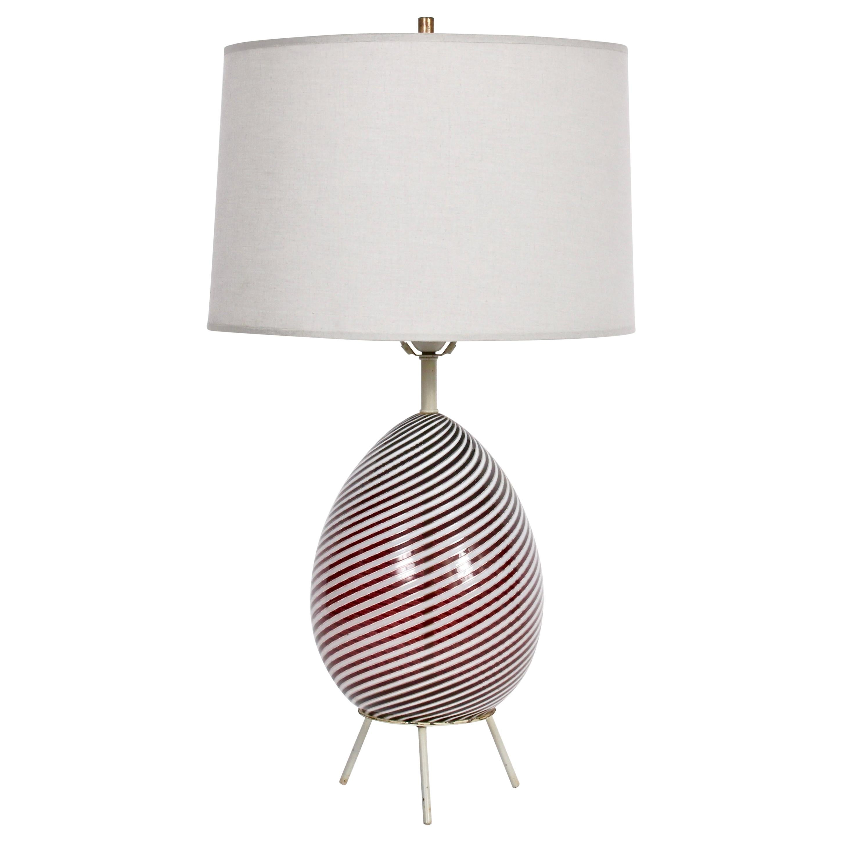 "Dino Martens for Aureliano Toso Cranberry ""Twist"" Table Lamp on Tripod Base"