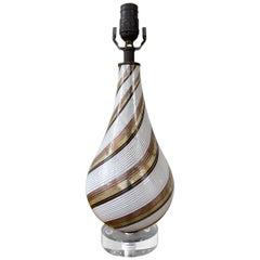Dino Martens for Aureliano Toso Mezza Filigrana Venetian Glass Table Lamp, 1940s