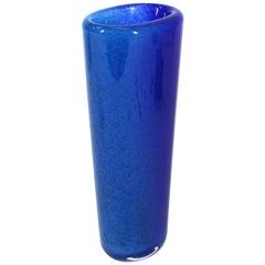 Dino Martens for Toso Italian Mid-Century Modern Murano Glass Vase in Blue
