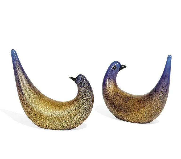 Dino Martens for Vetreria Aureliano Toso, Golden Dove pair, Murano, Italy, 1940s.  Rare early Dino Martens (1894-1970) for Vetreria Aureliano Toso; Colombella Aurata (Golden Doves), pair. Murano, Italy, 1940s; blue and black glass with gold