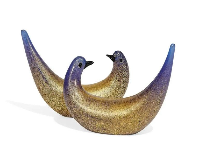 Mid-Century Modern Dino Martens for Vetreria Aureliano Toso, Golden Dove Pair, Murano, Italy, 1940s For Sale