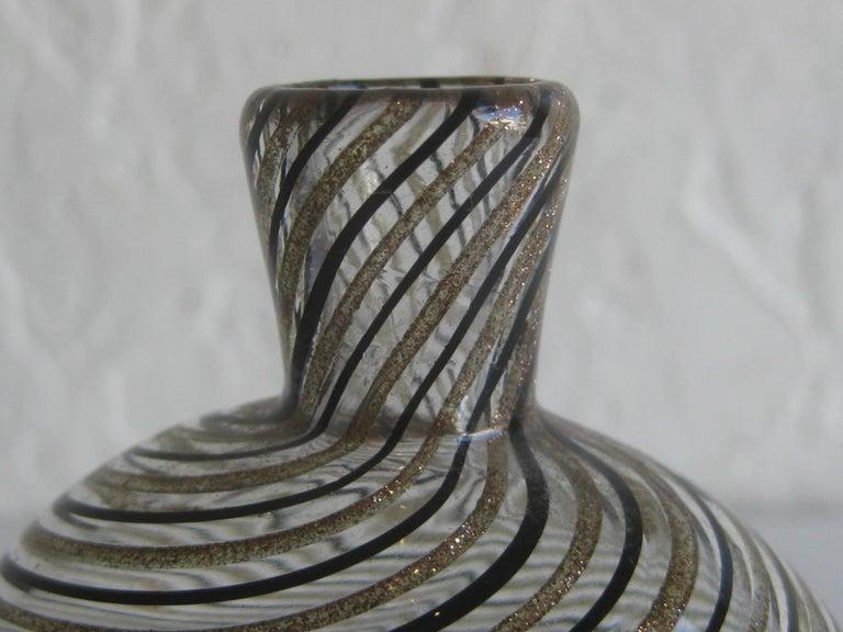 Dino Martens Mezza Filigrana Gold and Black Canes Murano Art Glass Vase, Italy For Sale 6