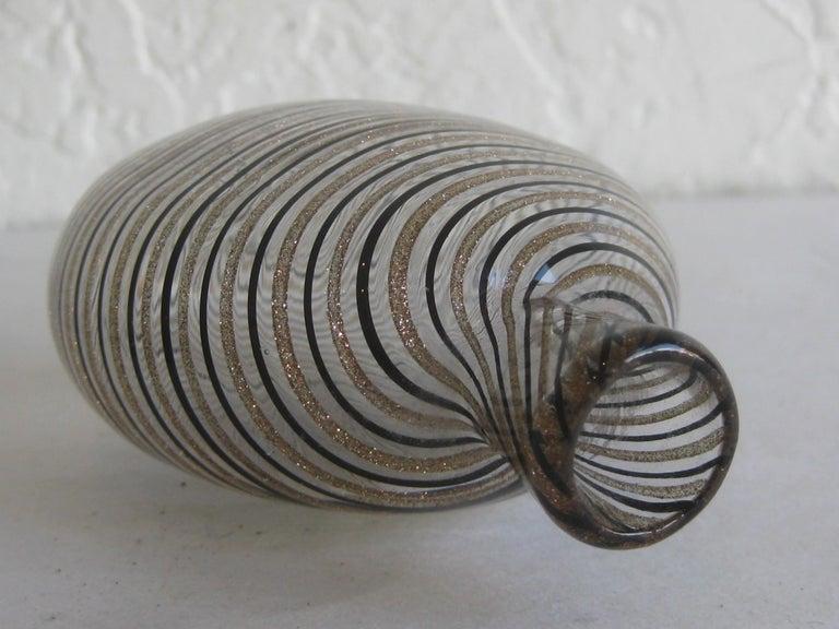 Dino Martens Mezza Filigrana Gold and Black Canes Murano Art Glass Vase, Italy For Sale 7