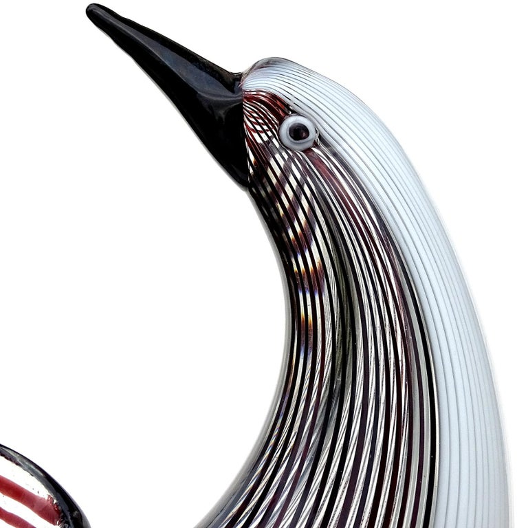 Dino Martens Murano Black White Ribbons Italian Art Glass Sculptural Bird Bowl For Sale 1