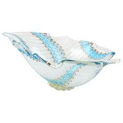Dino Martens Murano Blue White Aventurine Ribbons Italian Art Glass Leaf Bowl