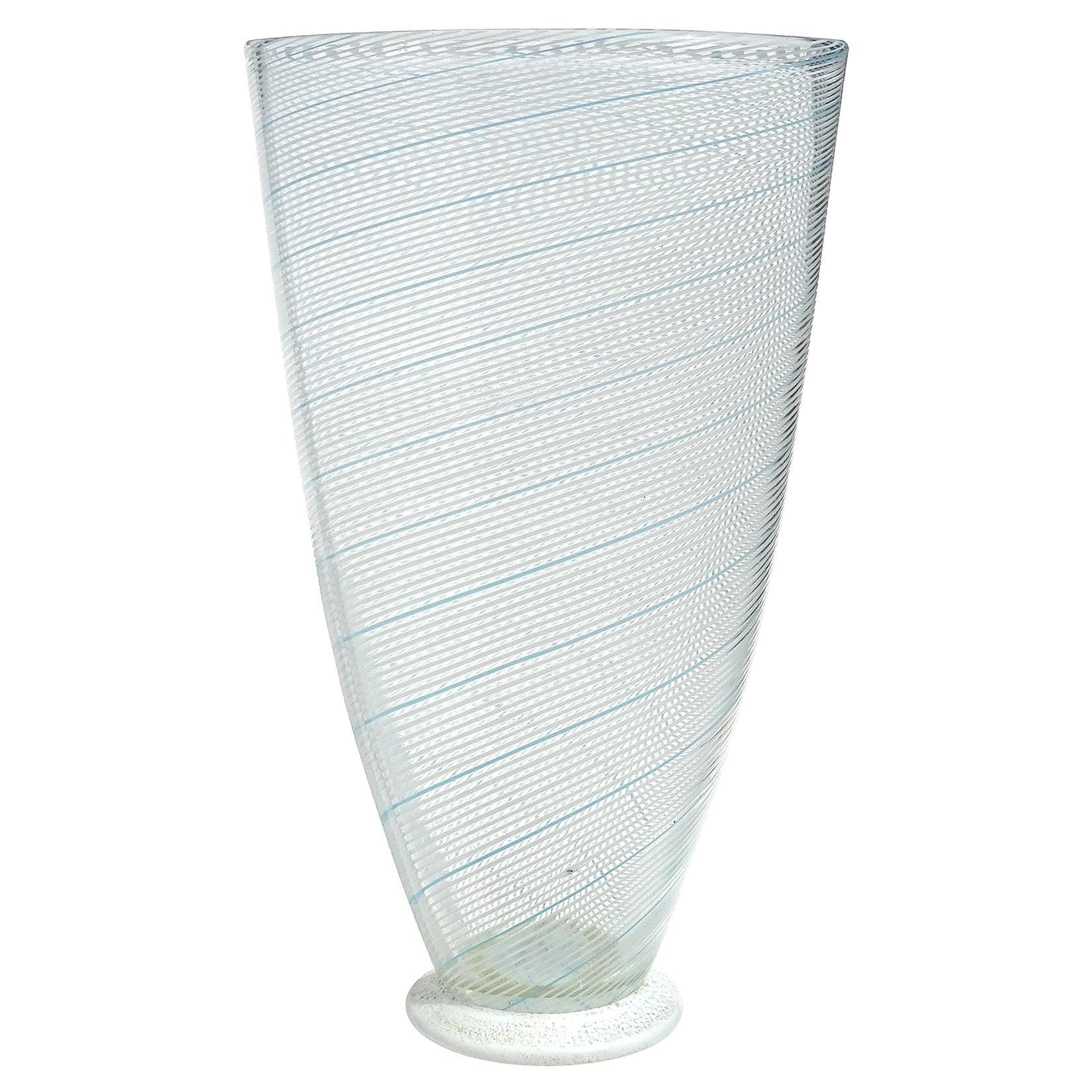 Dino Martens Murano Blue White Ribbons Gold Flecks Italian Art Glass Flower Vase