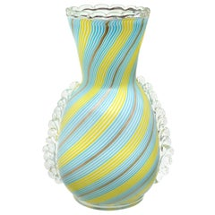 Dino Martens Murano Blue Yellow Aventurine Ribbons Italian Art Glass Flower Vase