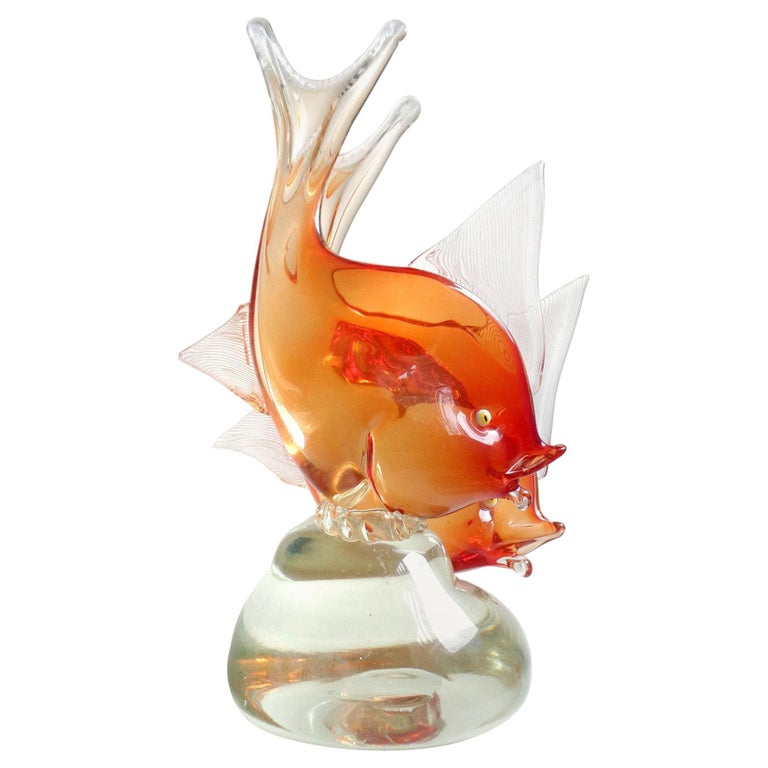 Dino Martens Murano Orange Sommerso Italian Art Glass Double Fish Sculpture For Sale