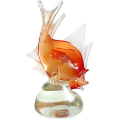 Dino Martens Murano Orange Sommerso Italian Art Glass Double Fish Sculpture