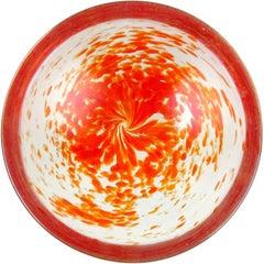 Dino Martens Murano Orange Spots Iridescent Italian Art Glass Decorative Bowl