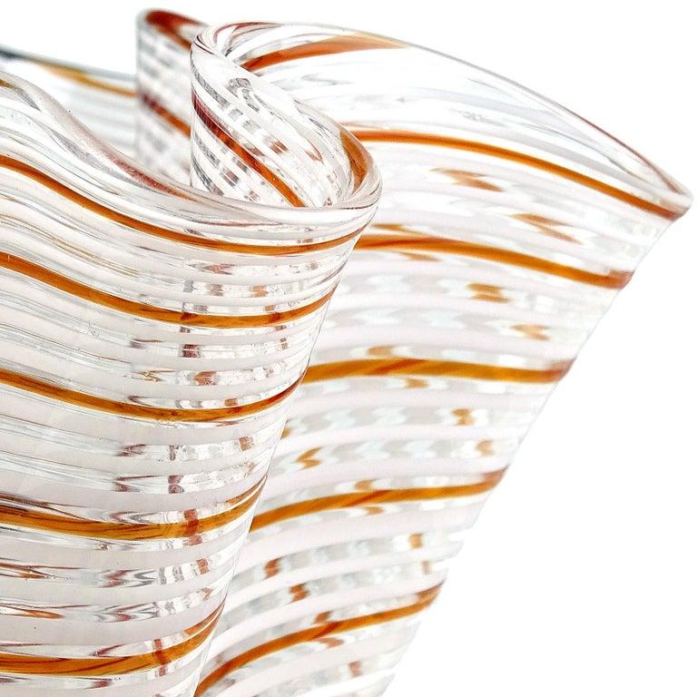 Mid-Century Modern Dino Martens Murano Red Orange White Italian Art Glass Fazzoletto Flower Vase