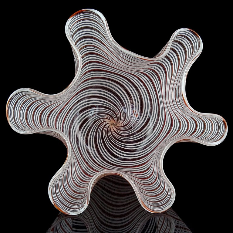 Hand-Crafted Dino Martens Murano Red Orange White Italian Art Glass Fazzoletto Flower Vase