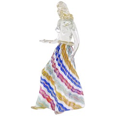 Dino Martens Murano Zig Zag Ribbons Skirt Italian Art Glass Nude Woman Sculpture