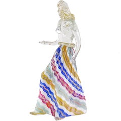 Dino Martens Murano Zig Zag Ribbons Skirt Italian Art Glass Nude Woman Sculpture