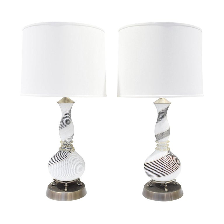 Dino Martens Pair of Hand-Blown Glass Table Lamps, 1950s For Sale
