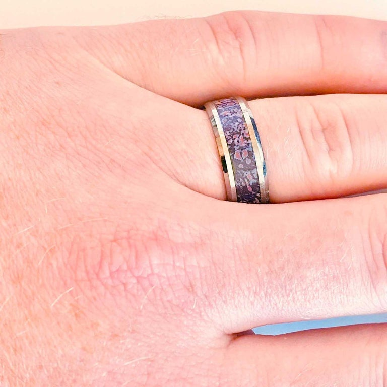 Dinosaur Bone Inlay Cobalt Chrome Men's Band, Archeology Design Ring In New Condition For Sale In Austin, TX