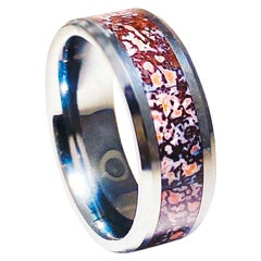 Dinosaur Bone Inlay Cobalt Chrome Men's Band, Archeology Design Ring