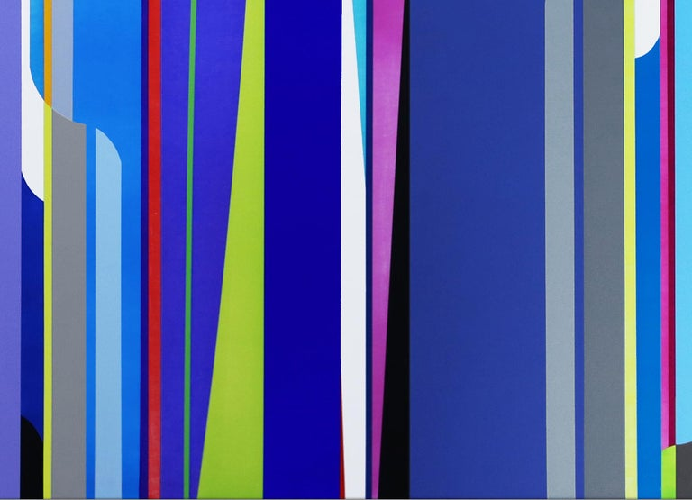 acrylic on canvas (three canvases)  Dion Johnson's studio practice exists at the intersection of intention and reaction. His pared down visual vocabulary in combination with hard-edged abstraction result in brightly colored forms that collide,
