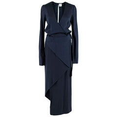 Dion Lee Navy Silk-Satin Bias Wrap Dress AUS6