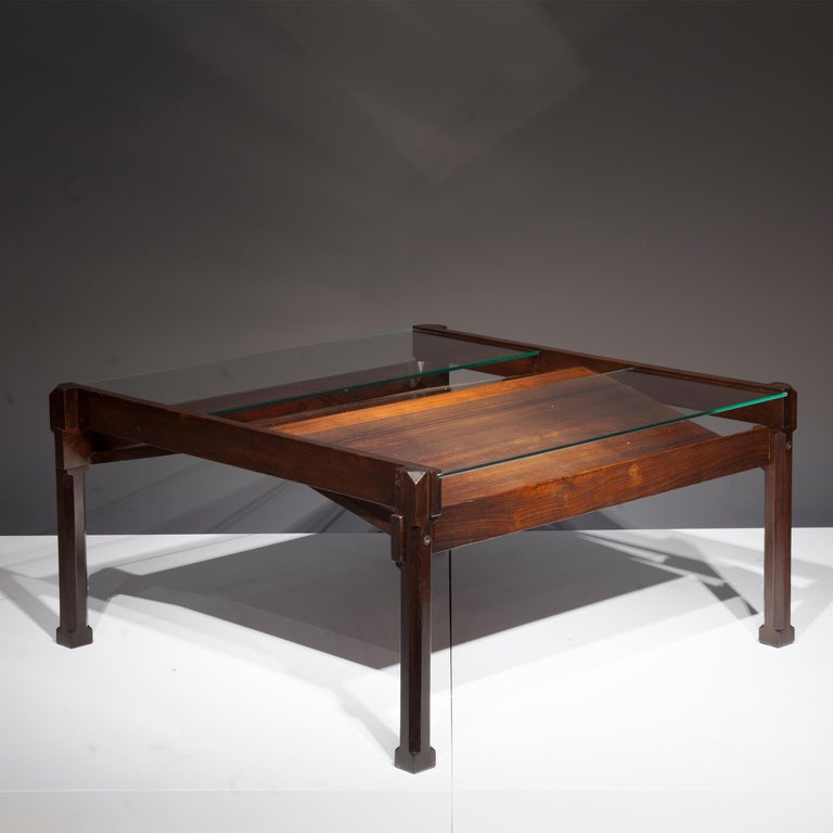 Dione coffee table by Ico Parisi, Italy 1958, in rosewood and glass, manufactured by Stildomus, Rome.
