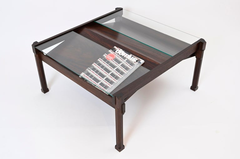 'Dione' Rosewood Coffee Table and Magazine Rack by Ico Parisi for Stildomus For Sale 3