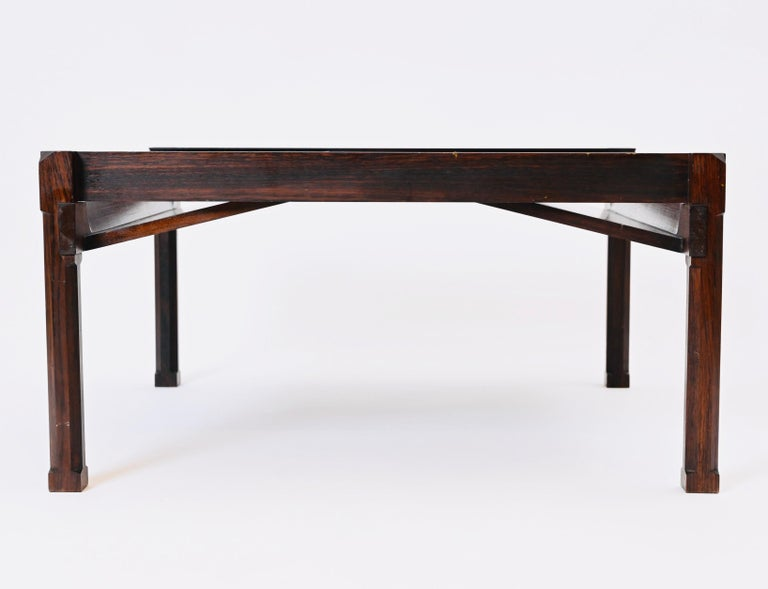 'Dione' Rosewood Coffee Table and Magazine Rack by Ico Parisi for Stildomus For Sale 1