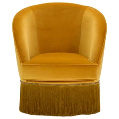 Dione Small Ocher Armchair with Fringes