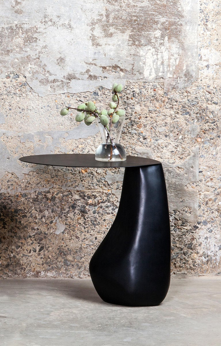 Contemporary Dionis Side Table in Blackened Steel For Sale