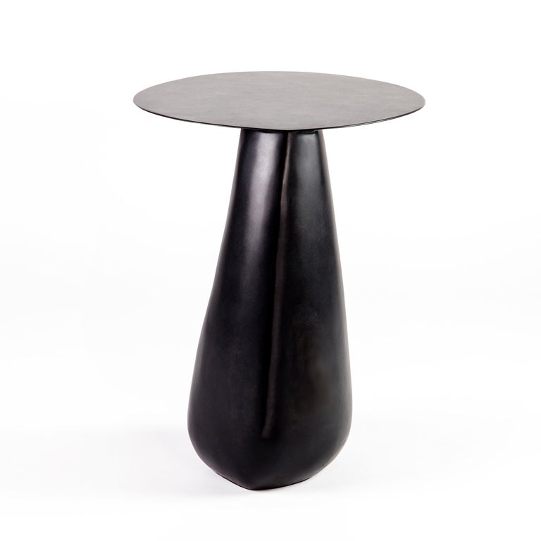 Dionis Side Table in Blackened Steel In New Condition For Sale In Philadelphia, PA