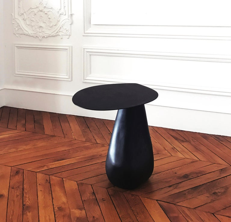 Dionis Side Table in Blackened Steel For Sale 1