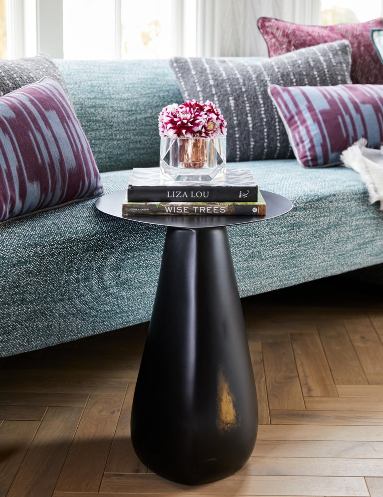 Dionis Side Table in Patinated Bronze, Hand-Sculpted For Sale 5