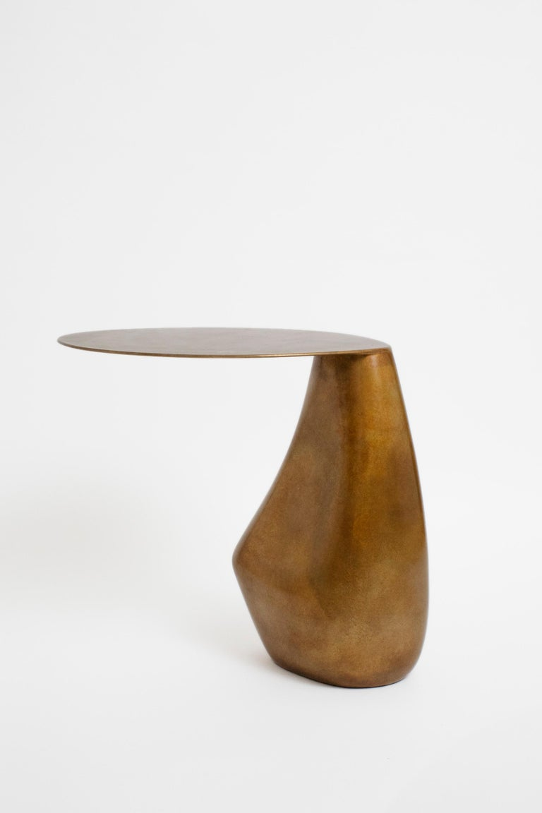 American Dionis Side Table in Patinated Bronze, Hand-Sculpted For Sale