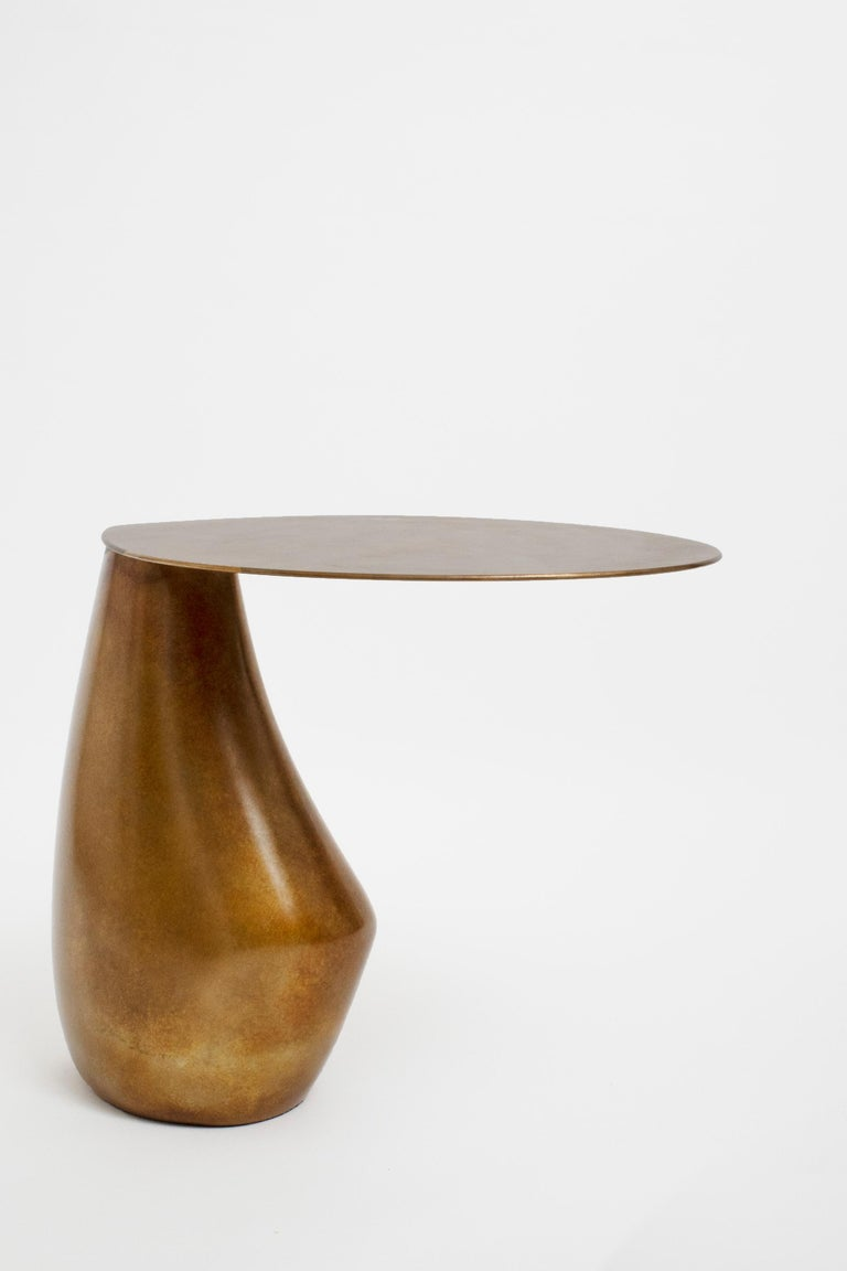 Dionis Side Table in Patinated Bronze, Hand-Sculpted In New Condition For Sale In New York, NY
