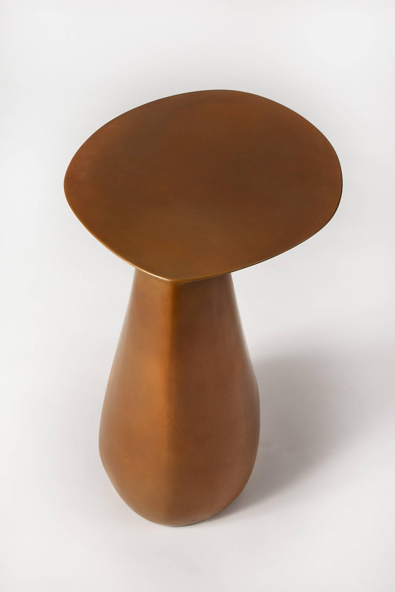 Contemporary Dionis Side Table in Patinated Bronze, Hand-Sculpted For Sale