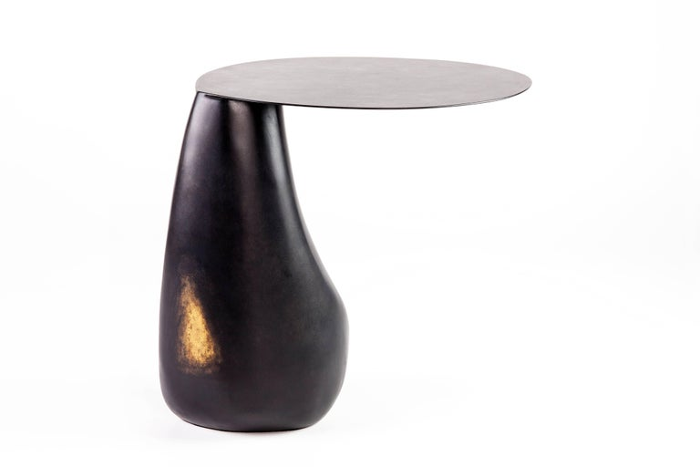 Dionis Side Table in Patinated Bronze, Hand-Sculpted For Sale 8