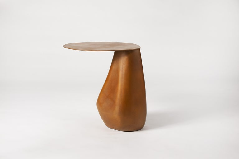Dionis Side Table in Patinated Bronze, Hand-Sculpted For Sale 3