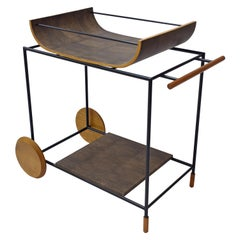 Dionízio Bar Cart in Black Carbon Steel Natural Wood and Leather
