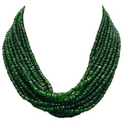 Diopside Pearl Multi-Strand Neacklace Bakelite Clasp