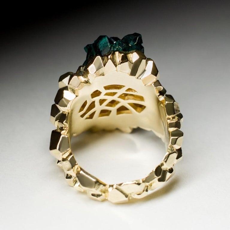 Dioptase Crystal 14K Gold Ring Statement Green Gemstone Unisex Men's Christmas For Sale 4