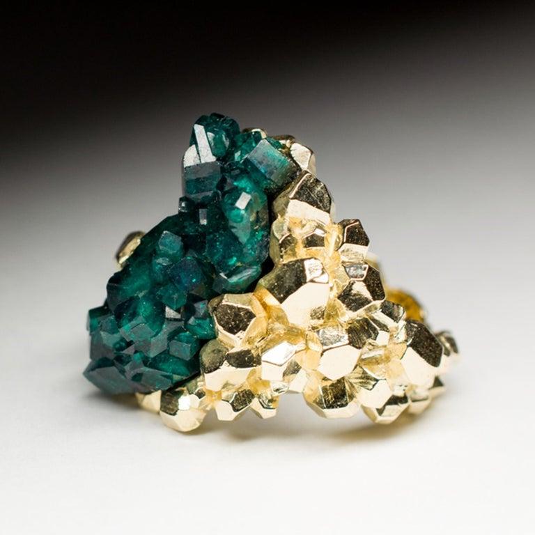 Artist Dioptase Crystal 14K Gold Ring Statement Green Gemstone Unisex Men's Christmas For Sale