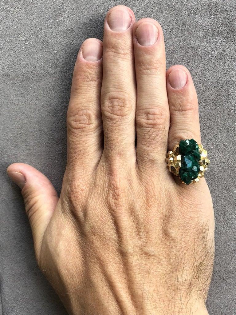 Uncut Dioptase Crystal 14K Gold Ring Statement Green Gemstone Unisex Men's Christmas For Sale