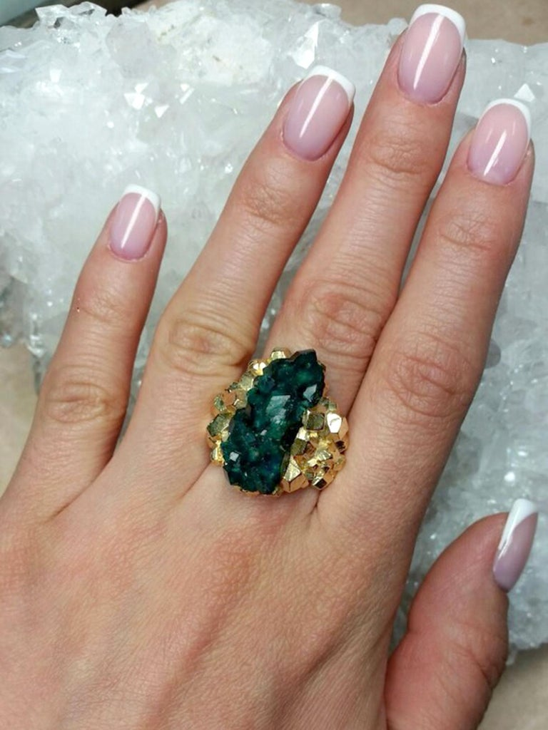 Women's or Men's Dioptase Crystal 14K Gold Ring Statement Green Gemstone Unisex Men's Christmas For Sale